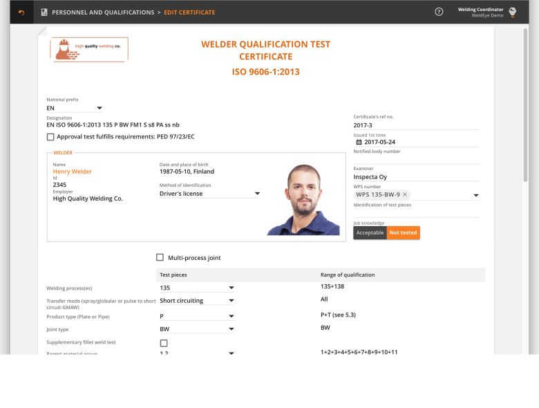 Personnel and Qualifications - WeldEye